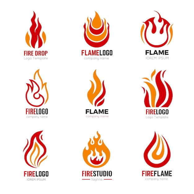 Flame logo. burning fire graphic symbols for business identity collection. illustration fire and burn logo, flame icon power Premium Vector