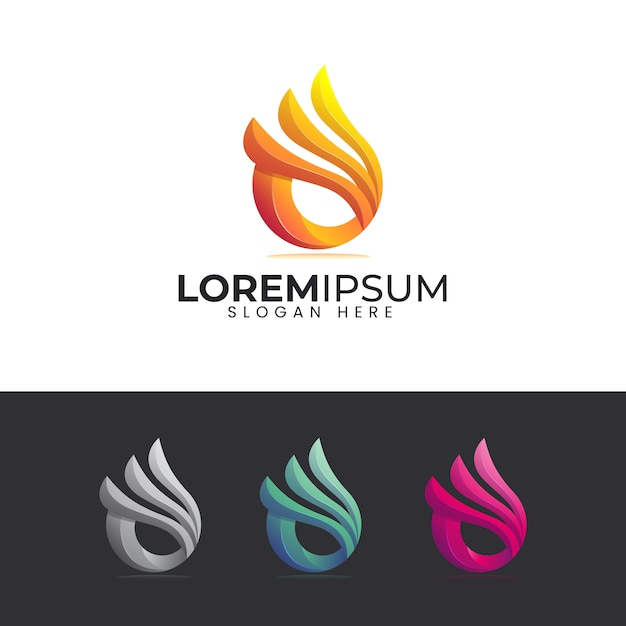 Flame logo with colorful style Premium Vector