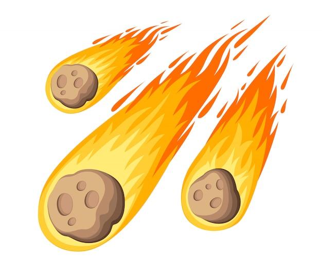 Пламя метеорита. метеоритный дождь падает на планету в мультяшном стиле. цветной значок катаклизма. иллюстрация на белом фоне. страница веб-сайта и мобильное приложение Premium векторы