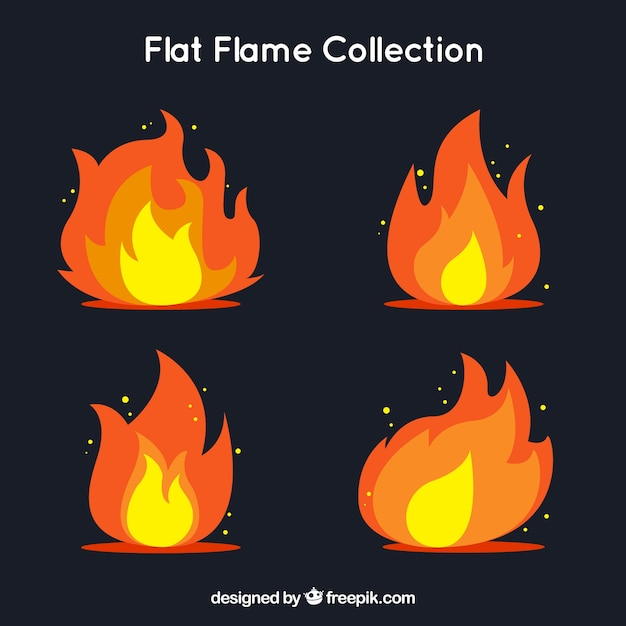 Flame pack in flat design Free Vector
