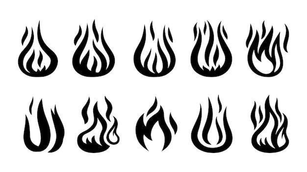 炎のシルエット。黒の発砲アイコン、白で隔離の警告記号。 Premiumベクター
