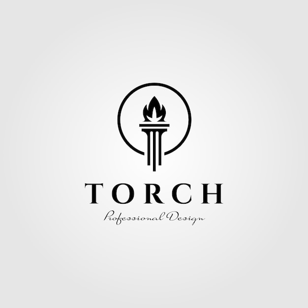 Flame torch logo pillar symbol illustration design Premium Vector