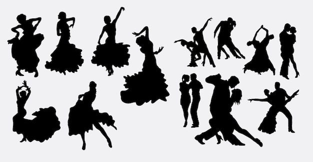 Flamenco Salsa And Latin Dance Silhouette Premium Vector