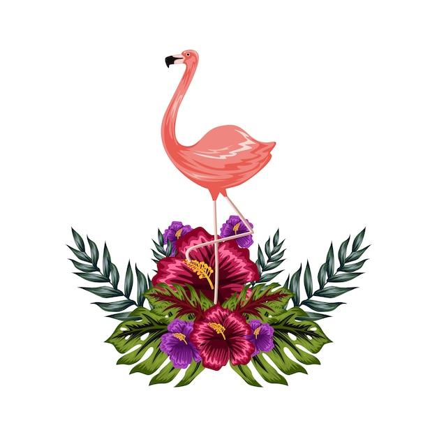 Flamengo with tropical flower illustration Premium Vector