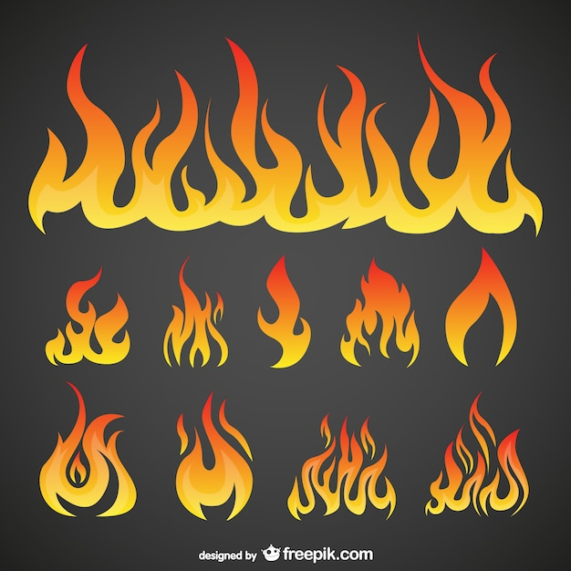 Flames collection Free Vector