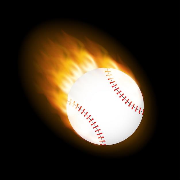 A flaming baseball ball on fire flying through the air. Premium Vector