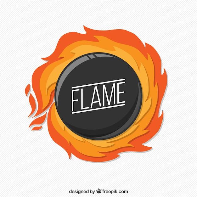 Flaming circle background Premium Vector