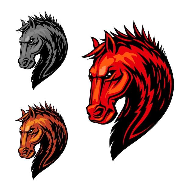 オレンジ色の毛皮と火の炎のパターンを持つたてがみを持つ恐ろしいスタリオンの燃えるような馬の頭のシンボル。乗馬スポーツ競技 Premiumベクター