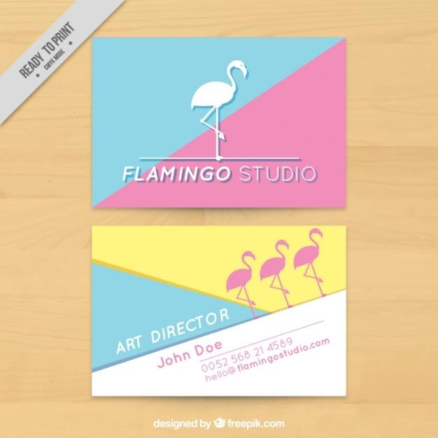 Flamingo Art Studio Business Card Free Vector