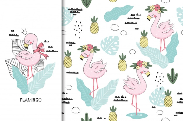 Flamingo baby princess, cute jungle animal character. kids  bird card and seamless background. hand drawn  illustration. Premium Vector
