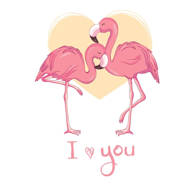 Flamingo bird illustration design Premium Vector