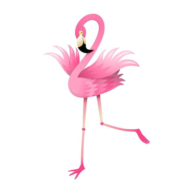 子供のためのフラミンゴ鳥ピンクとカラフルな漫画 Premiumベクター