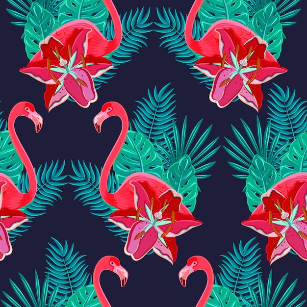 Flamingo birds and tropical hibiscus bright flowers tropical foliage Free Vector