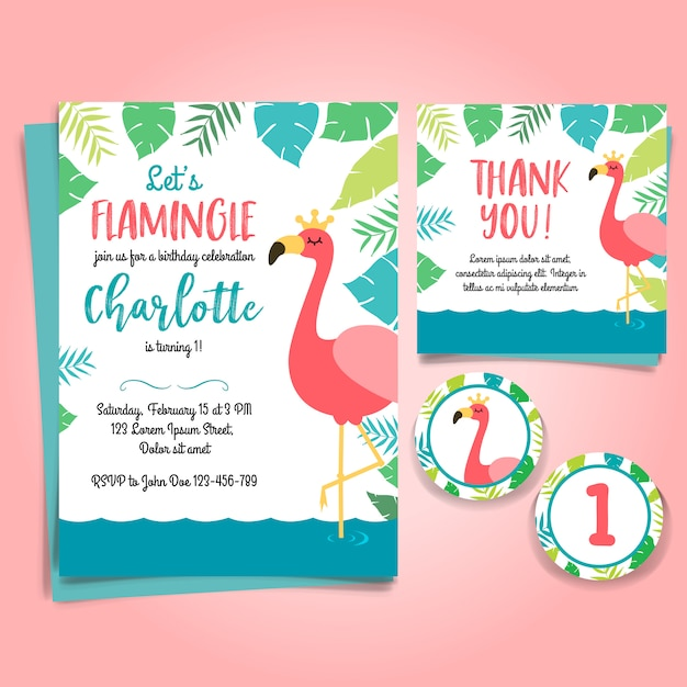 Flamingo Birthday Invitation Pool Party Premium Vector
