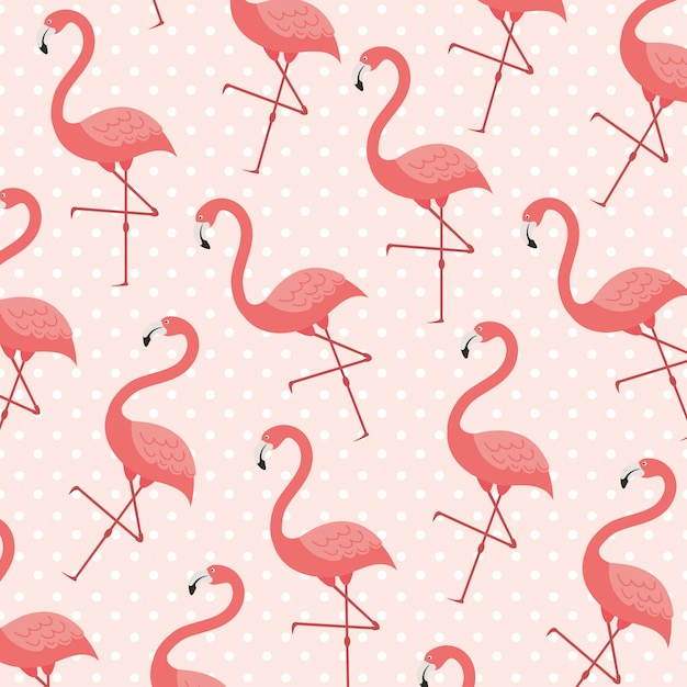 Flamingo composition in living coral style Premium Vector