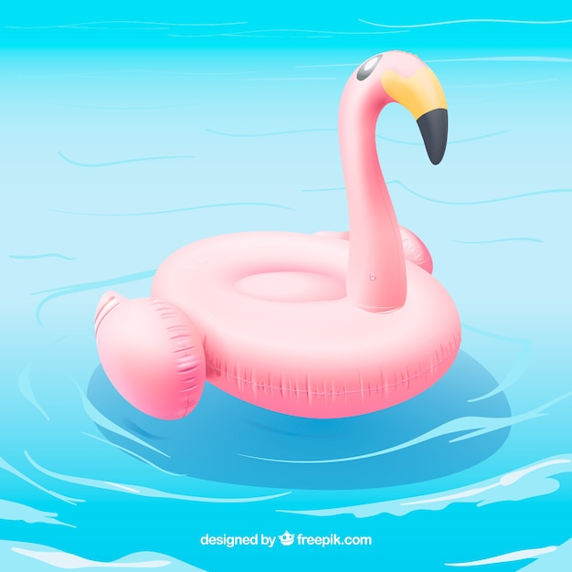 Flamingo float in a swimming pool