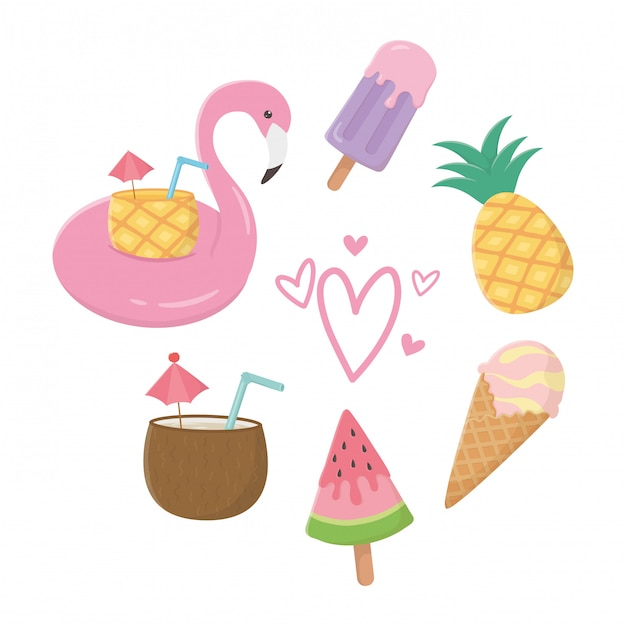 Flamingo float and summer elements Premium Vector