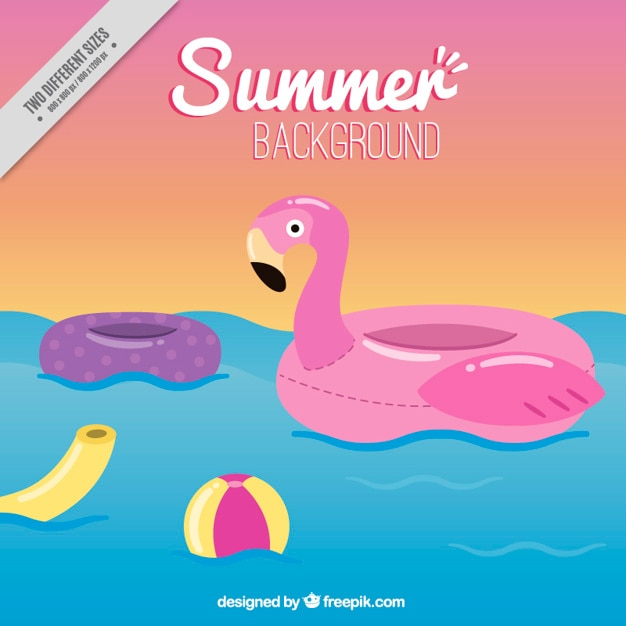 Flamingo float with elements summer background Free Vector