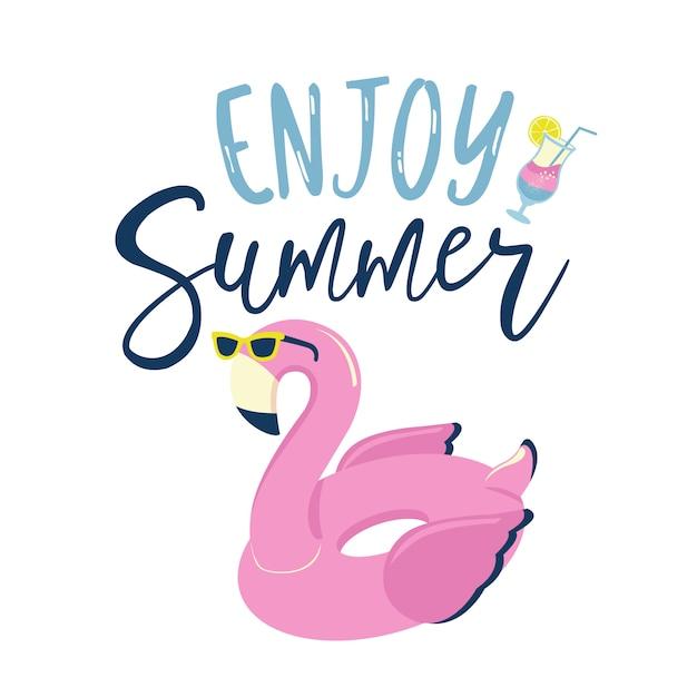 Flamingo inflatable swimming pool ring in sunglasses label. Premium Vector