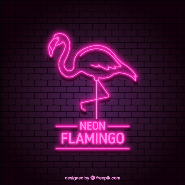 Flamingo Neon With Pink Light Vector Free Download