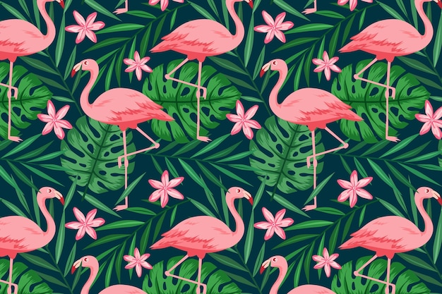 Flamingo pattern collection concept Free Vector