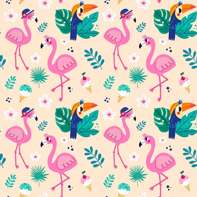 Flamingo pattern collection Free Vector