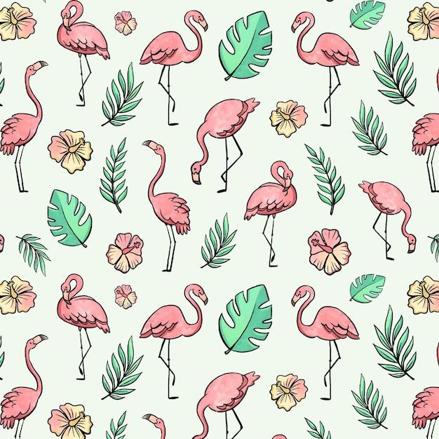 Тема узора фламинго Бесплатные векторы