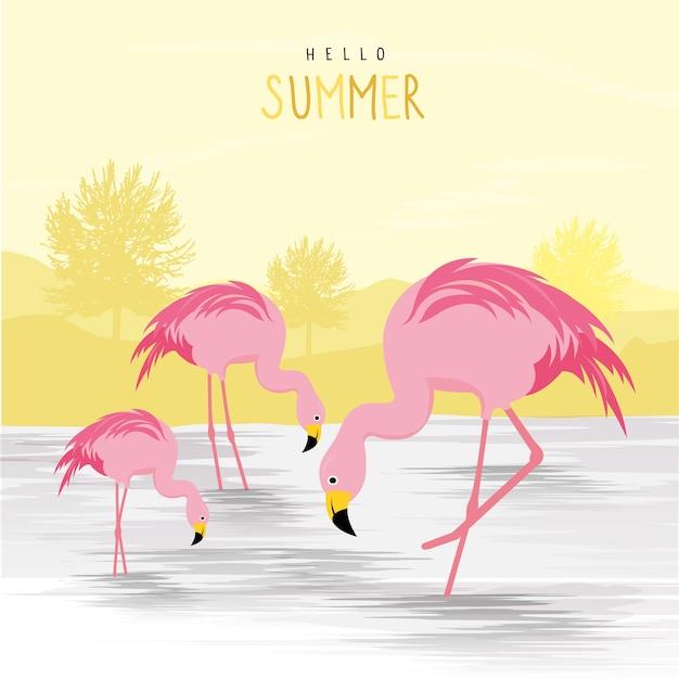 flamingo pink animal bird cartoon character illustration vector