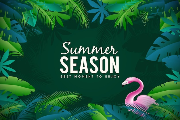 Flamingo realistic summer background Free Vector