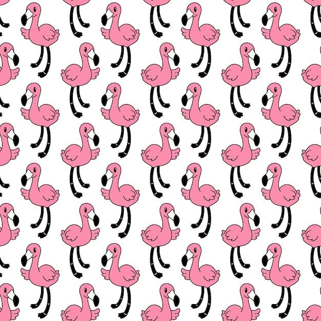 Фламинго бесшовные модели птица мультфильм Premium векторы