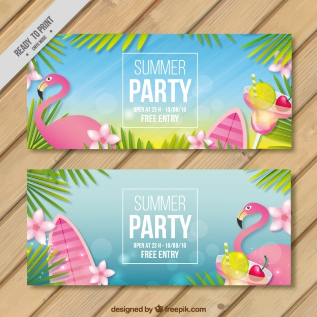 Flamingo summer party banners Free Vector
