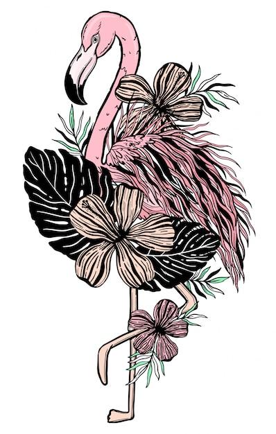 Premium Vector Flamingo Tattoo Tropical Animal Bird