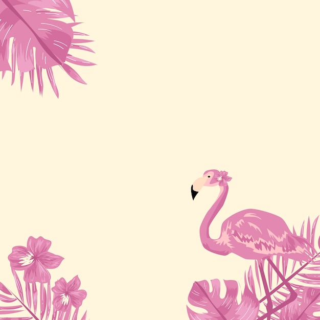 Flamingo and tropical leaf background. Premium Vector