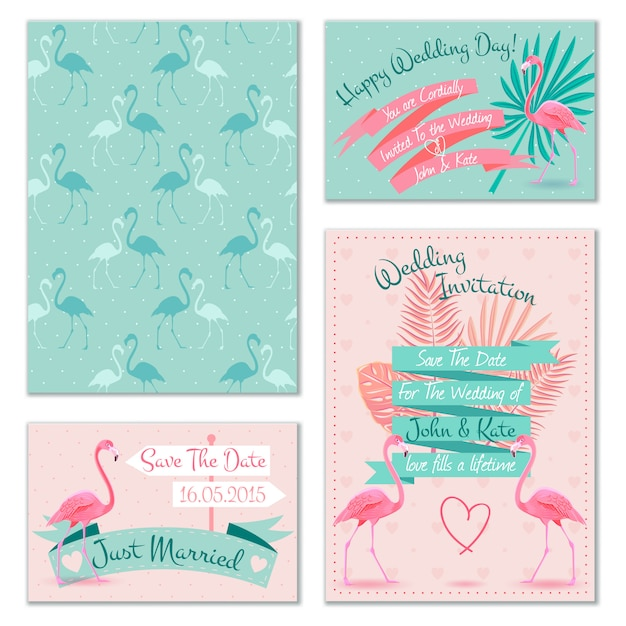 Flamingo wedding invitation cards Free Vector
