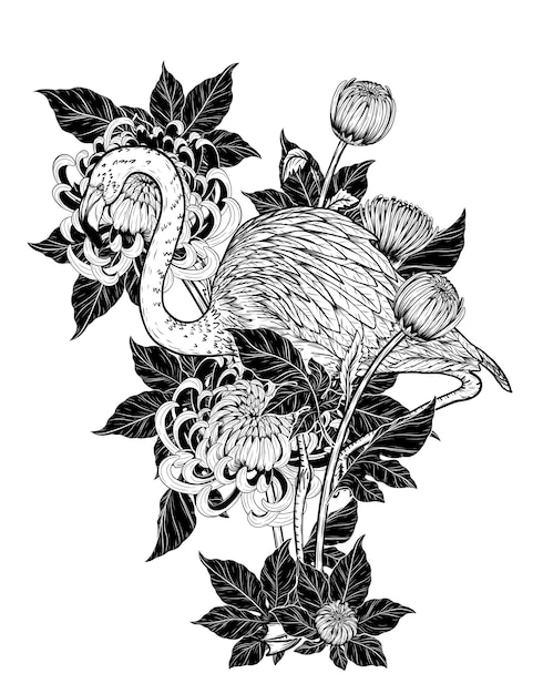 02300606c Flamingo with chrysanthemum vector by hand drawing Vector | Premium ...