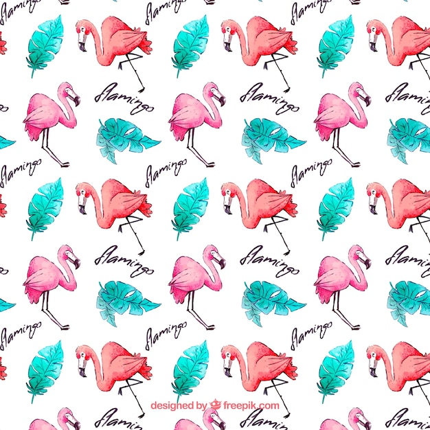Flamingos pattern with plants in watercolor style Free Vector