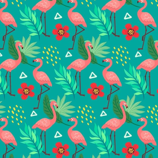 Фламинго узор с тропическими листьями и цветами Бесплатные векторы