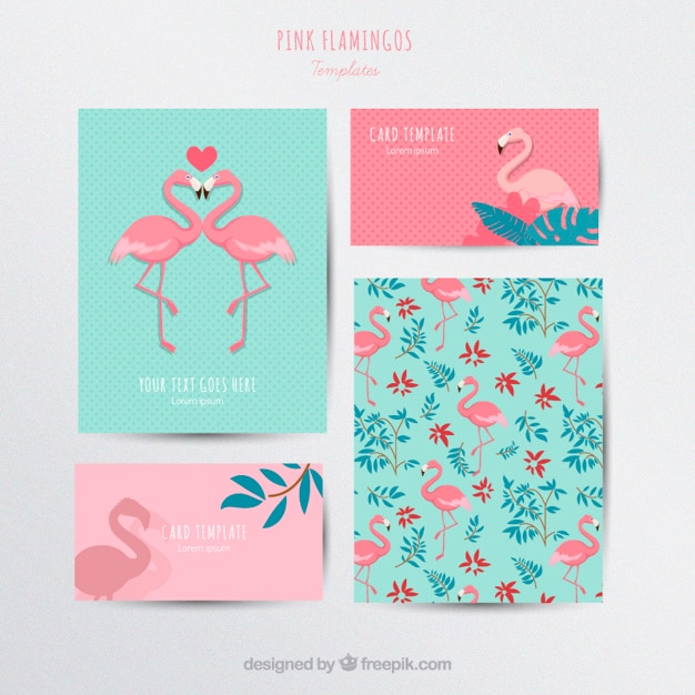 Flamingos stationery Free Vector