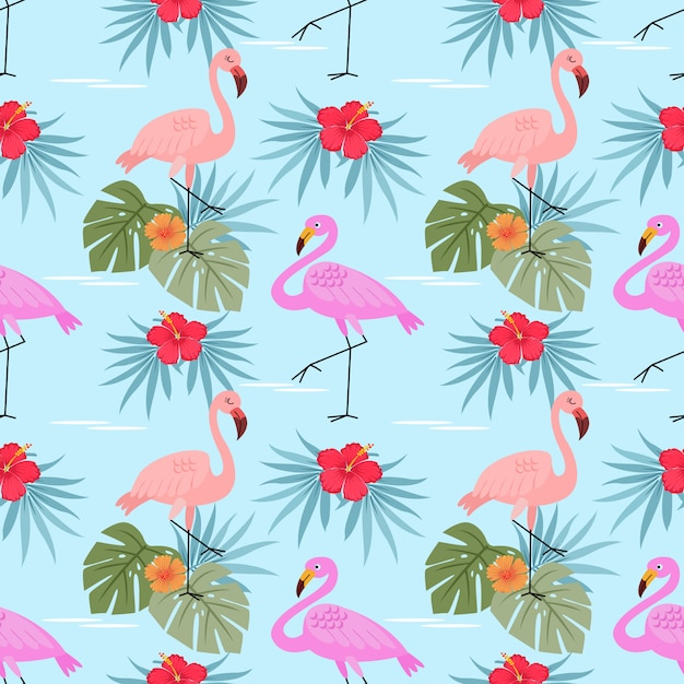 Flamingos with hibiscus flowers  and leaves seamless pattern. Premium Vector