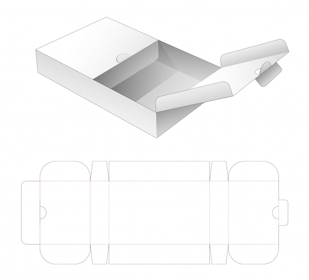 Flap box with middle opening point die cut template Premium Vector