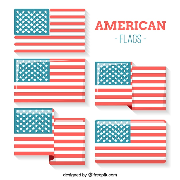 Flapped american flag collection Free Vector
