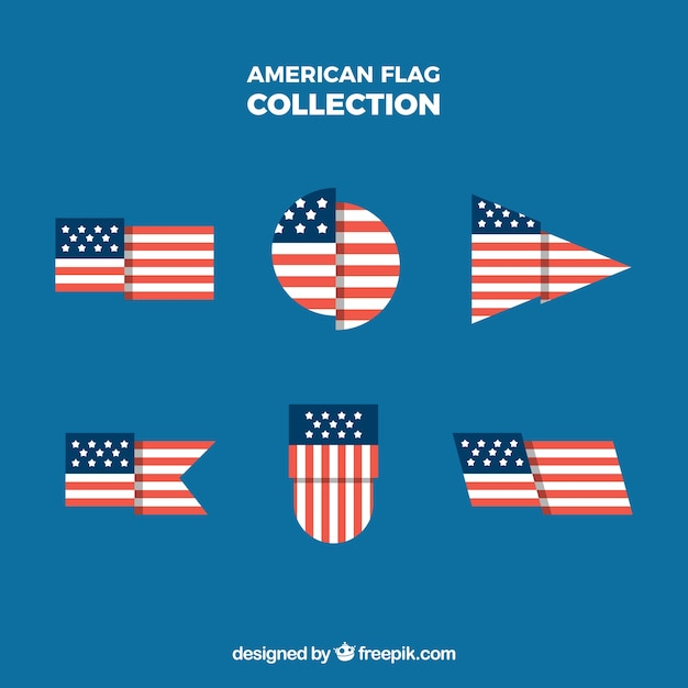 Flapped american flag with different shapes collection Free Vector