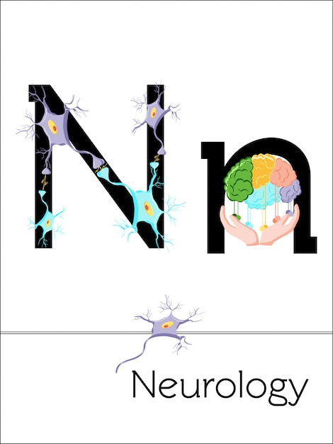 Flash card letter n is for neurology. science alphabet for kids. Premium Vector