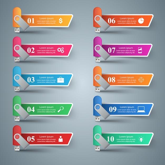Flash color usb - business infographic. Premium Vector