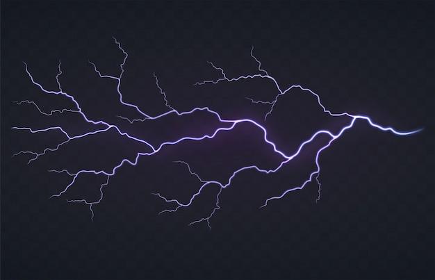 黒の透明な背景に雷、雷雨のフラッシュ。明るく輝く放電。 Premiumベクター