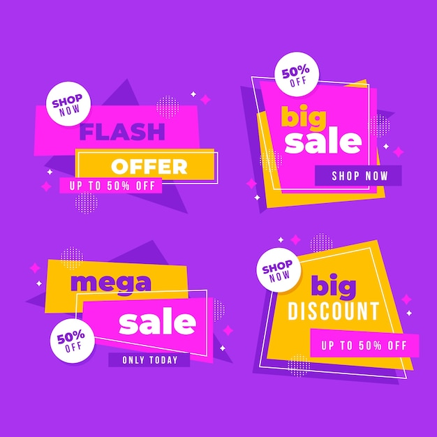 Flash offer sales banners collection Free Vector