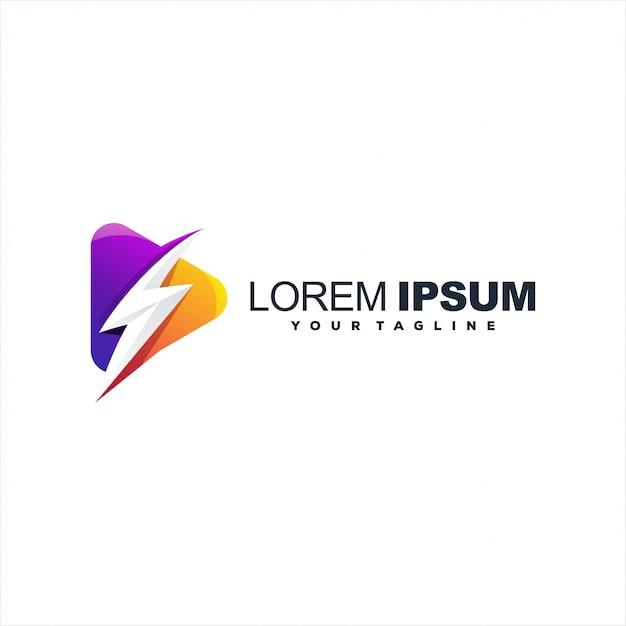 Удивительный логотип flash play Premium векторы