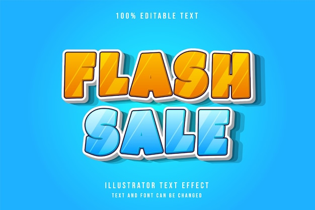 Flash sale,3d editable text effect modern blue gradation yellow comic text style Premium Vector