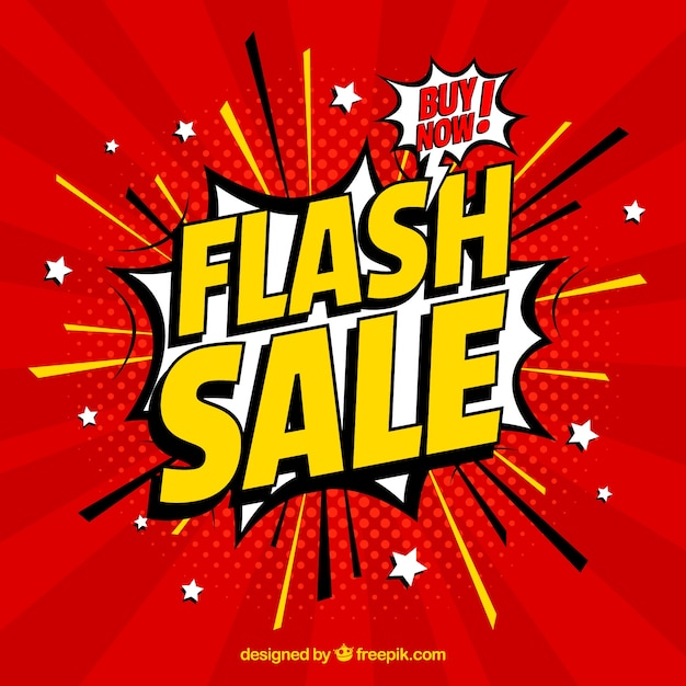 Flash sale background in comic style Premium Vector