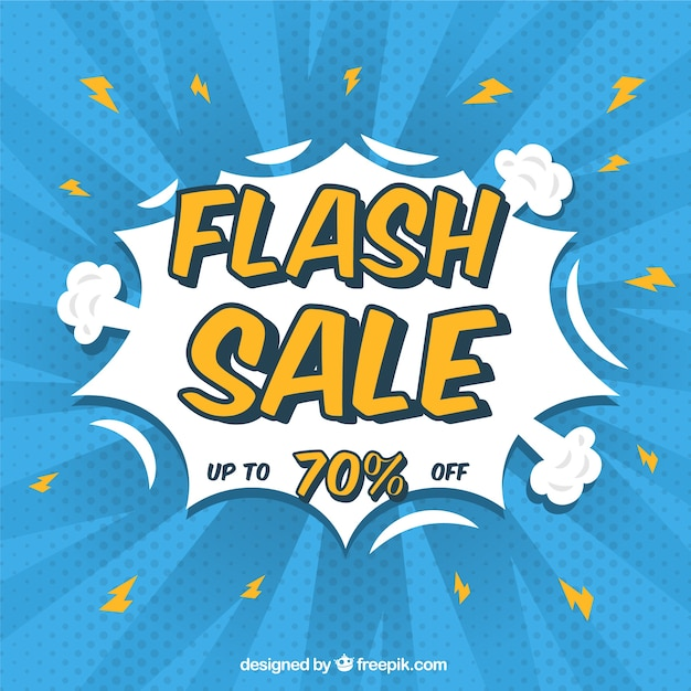 Flash Sale Background In Comic Style Vector Free Download